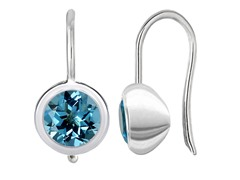 SS Swiss Blue Topaz Drop Earrings on Euro Wire