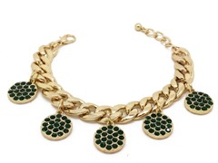 Emerald Circle Crystal Pave Cuban Chain Bracelet