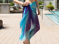 Tie-Dye Sheer Sarong Aqua & Purple