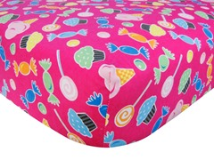 Candy Print Flannel Crib Sheet