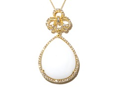 18kt Plated Synthetic Wht Agate Necklace