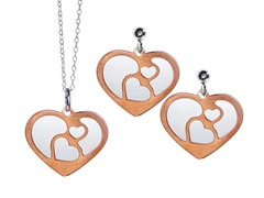 2-Flat Layered Heart Earrings & Pendant