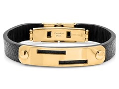 Leather Bracelet w/ 18kt Gold Plating