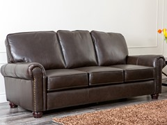 Berlin Nailhead Top-Grain Leather Sofa