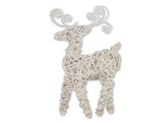 "14"" White Champagne Sparkle Vine Reindeer"