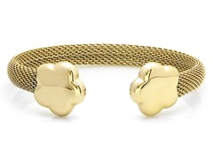 18kt Gold Plated Mesh Cuff w/ Flower