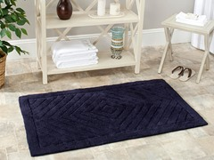 Plush 100% Cotton Bath Mat-Navy-2 Sizes