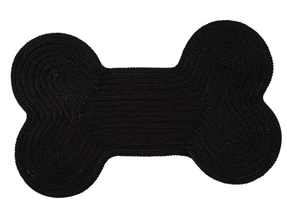 Black Dog Bone Solid Rug 3 Sizes