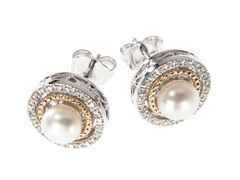 Silver & 14k Gold Pearl Earrings