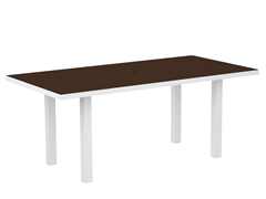 Euro Dining Table, White/Mahogany