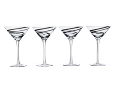 Luigi Bormioli Black Swirl Martini S/4