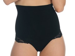 Lace Trim G-String Shaper, Black