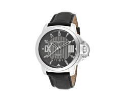 Gunmetal & Black Genuine Leather Watch