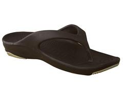 Women's Premium Flip Flop, Dark Brown / Tan