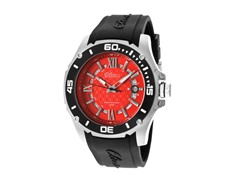 Elini Barokas Black Silicone Red Dial Watch