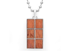 Stainless Steel Rectangle Wood Pendant
