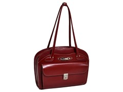 Lyndon Leather Ladies Briefcase - Red