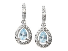 SS Blue Topaz Gemstone w/Diamond Earrings