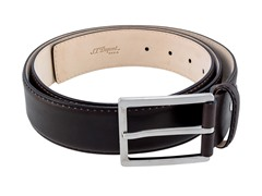 "ST Dupont ""Patiné"" Calfskin Leather Belt, Dk Brown"