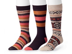Muk Luks Men's 3 Pair Pack Socks, Orange/Brown