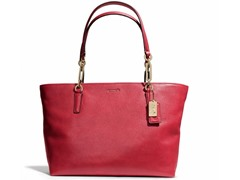 Madison East/West Leather Tote, Scarlet