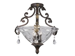 3-Light Semi-Flush Mount, Cognac
