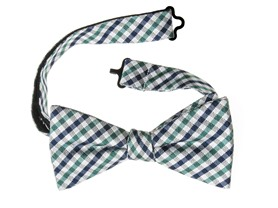 Bow Tie, White/Aqua Gingham