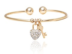 Gold/White Swarovski Elements Heart Lock Key Charm Bangle