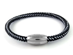 Braided Cable Wire Bracelet, Black/White