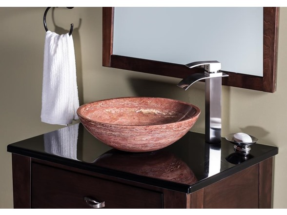 Image of Natural Stone Red Travertine Vessel Sink
