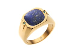 14k Gold Plated Steel Lapis Lazuli Ring