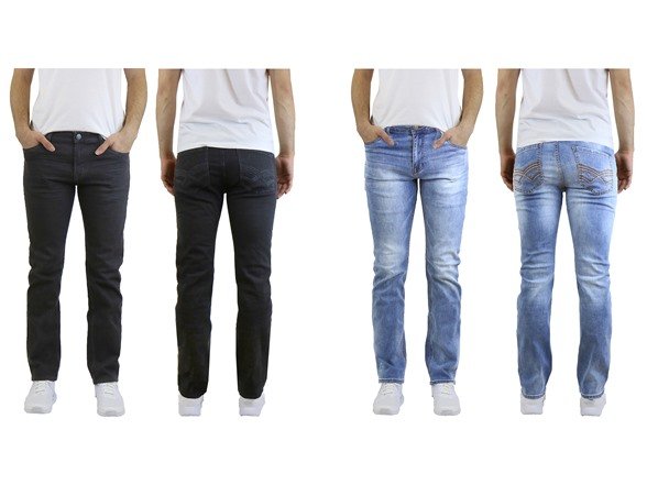 Image of Straight Leg Washed Stretched Jeans 2pk