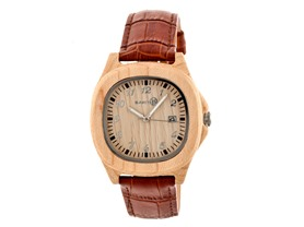 Earth Wood Sherwood Leather-Band Watch