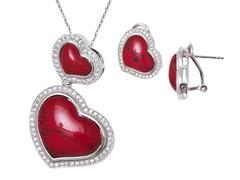 Coral Gemstone Earrings & Pendant