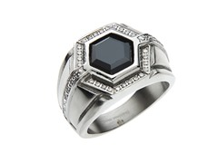 Steel Hexagon Ring w/ Black & White CZ