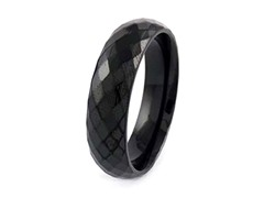 Fancy Black Ion Plated Faceted Band