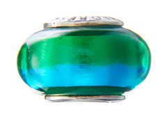 Blue & Green Half Murano Glass Bead