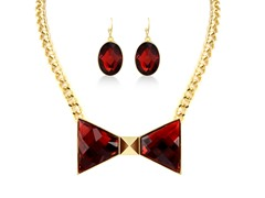 Gold-Plated Ruby Red Bow Fancy Jewelry