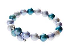 Freshwater Pearl and Bead Bangle Bracelet, Gray / Blue