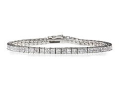 White Gold Plated SS Princess Cut Sim Diamond Tennis Bracelet