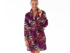 Multi Color Fluffy Lounge Robe,Purp