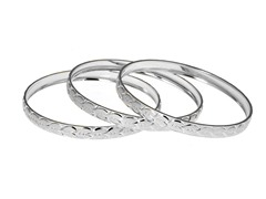 Silver Plated 3-Pack Diamond Cut Heart Bangle Set