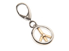 14Kt Gold, SS, Diamond Peace Sign Charm