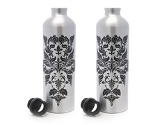 Silver Damask Aluminum Water Bottle 2-Pack