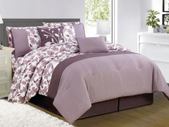 Leila 10Pc Comforter Set-Purple-Queen