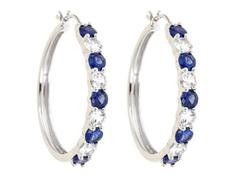 Created White Sapphite & Created Blue Sapphire Hoop Earring