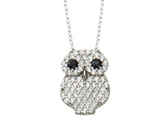 18kt White Gold Plated Owl Necklace