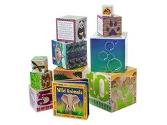 Wild Animals Nested Blocks and Book Set