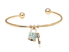 Blue/White Swarovski Elements Key and Lock Charm Bangle