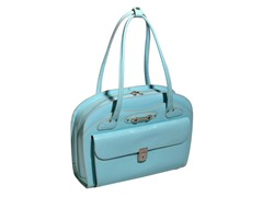 Lyndon Leather Ladies Briefcase - Aqua